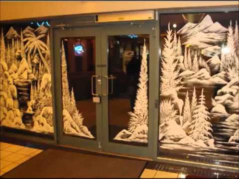 Christmas window painting artist Victoria BC - YouTube