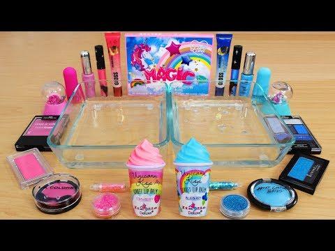 Pink Vs Blue - Mixing Makeup Eyeshadow Into Slime Special Series 135 Satisfying Slime Video