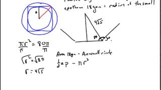 Area Between a Circle and an 18-gon