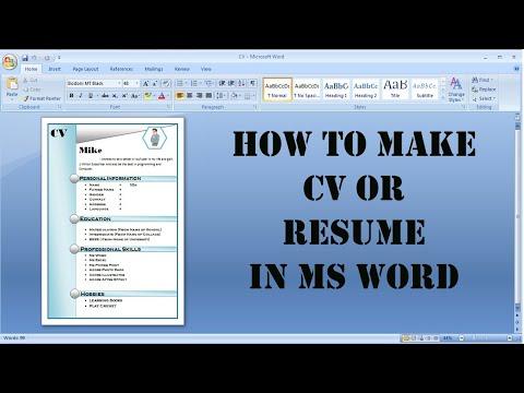 How To Make A Affective CV/Resume In Microsoft Word Urdu/HIndi (2019)