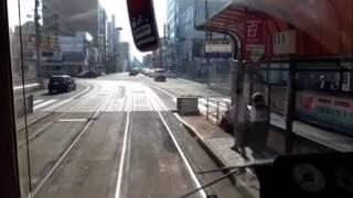 函館路面電車(五稜郭から杉並町へ) hakodate citytram(goryoukau stop)