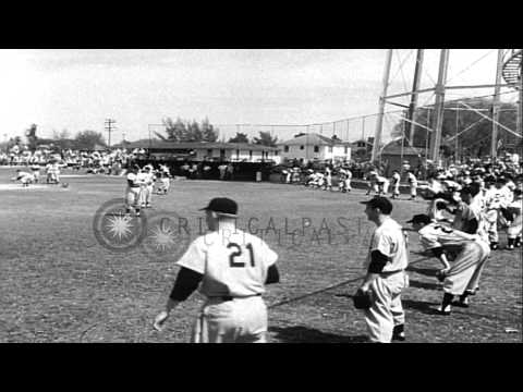 New York Yankees players include Yogi Berra and Mickey Mantle practice during Spr...HD Stock Footage