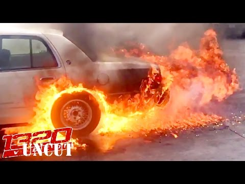 Car Catches on FIRE During BURNOUT!