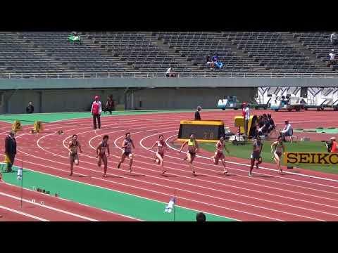 2018織田記念女子100m予選1組TOEA WISIL 11.60 名倉千晃11.72(+2.4)