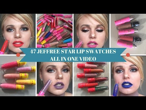 Jeffree Star Lipstick Swatches 💄 47 SHADES 😱 RIP my lips 💋