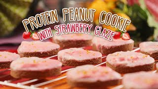 How To Make Protein Peanut Cookie With Marbled Strawberry Glaze