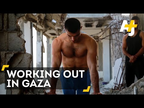 Palestinian Bodybuilders Work Out In Gaza Ruins