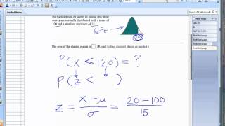 Find area under curve of a normal distribution