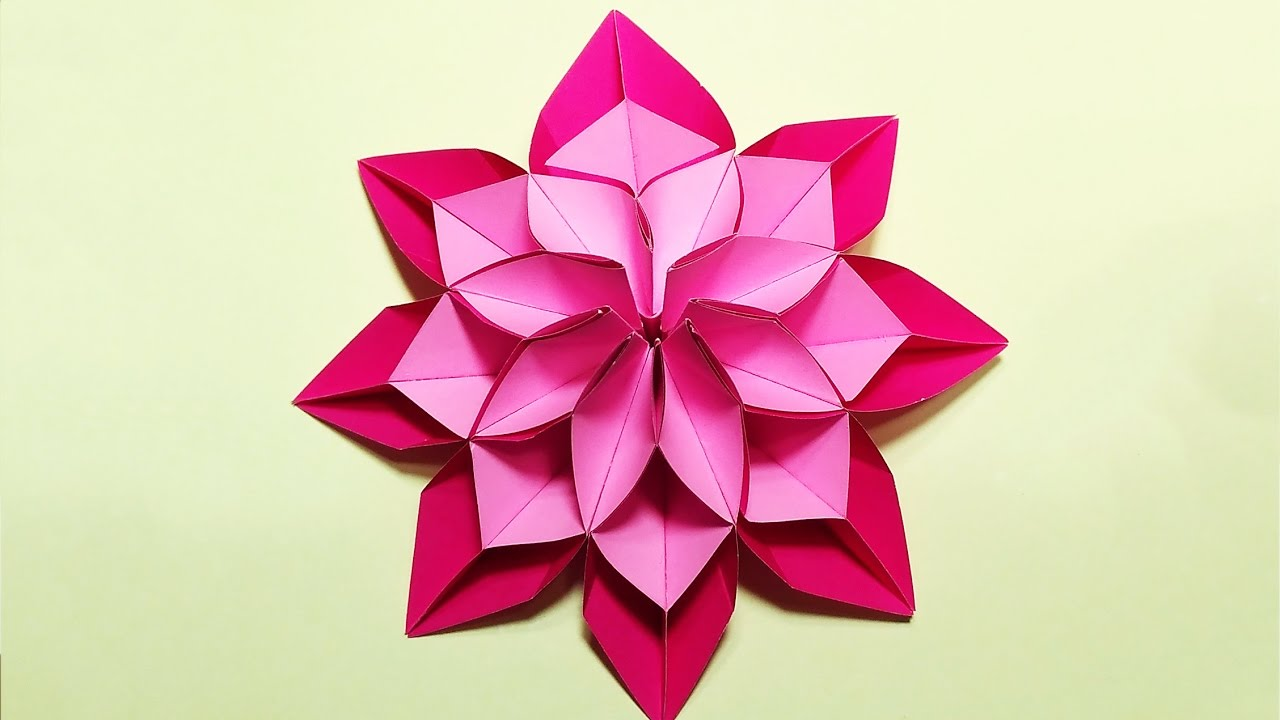 Unique Flower In Origami Style 3 Modifications Of Paper Flower For Room Decoration