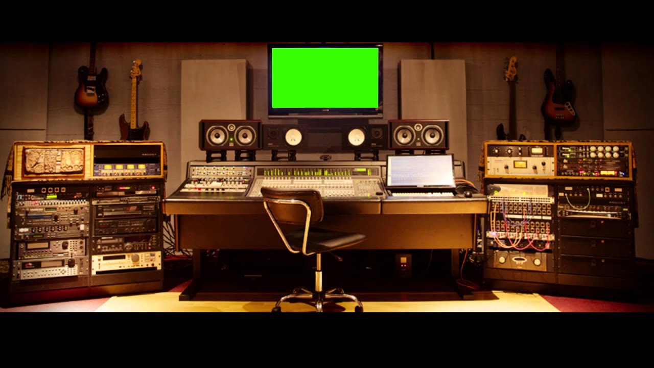 Music Studio Big Screen Green Screen Royalty Free