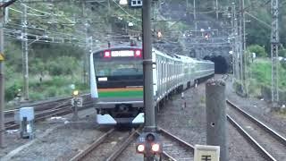 JR東日本E233系横コツE-02編成上野東京ライン 宇都宮線直通宇都宮行き 来宮発車