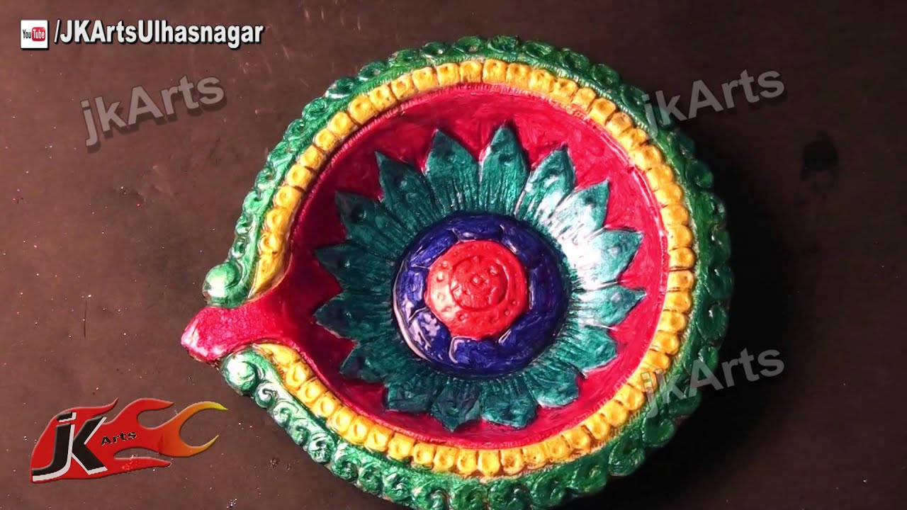 Diy how to decorate diwali diya diwali home decoration for Diya decoration youtube