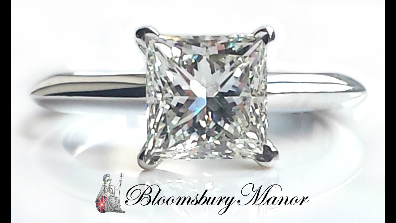 Tiffany & Co 1 52ct Princess Cut Diamond Engagement Ring