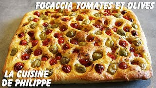 Focaccia tomates et olives