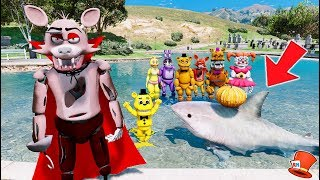 VAMPIRE FOXY'S HALLOWEEN SHARK POOL PRANK! (GTA 5 Mods For Kids FNAF RedHatter)