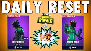 TOXIC TROOPER vs HAZARD AGENT!! Fortnite Daily Skin Reset & NEW Items in Item Shop