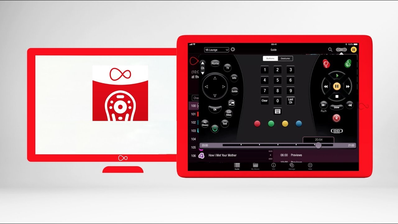 Virgin TV Control App on iOS