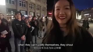 """深圳小姐在德国街头正面对峙一群""""乱港分子"""",有理有据?"""