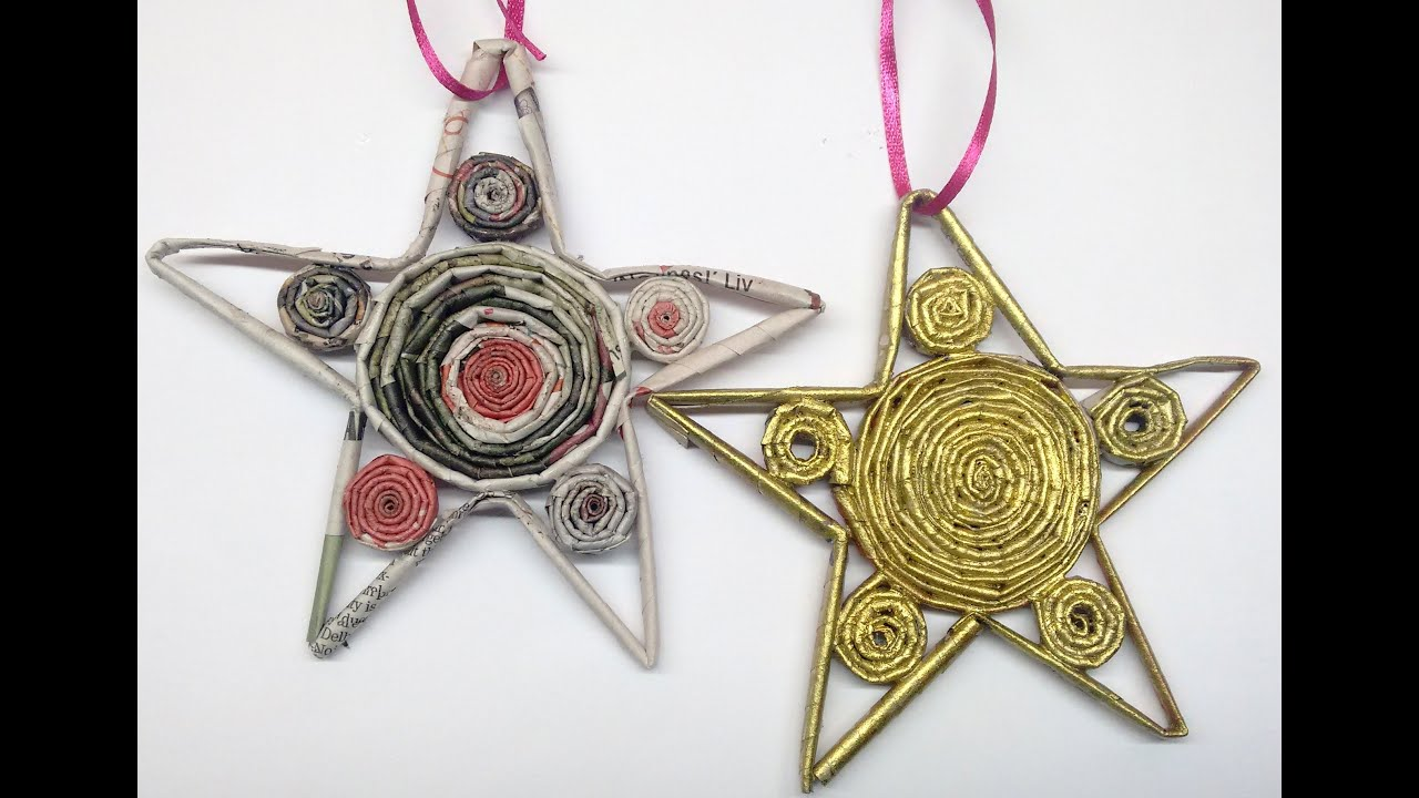 diy how to recycled newspaper christmas star ornament youtube - Recycled Christmas Ornaments