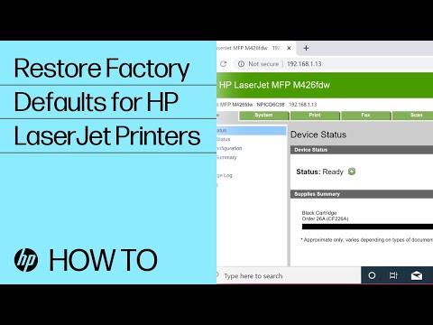 Restore Factory Defaults | HP LaserJet Pro Printers | @HPSupport