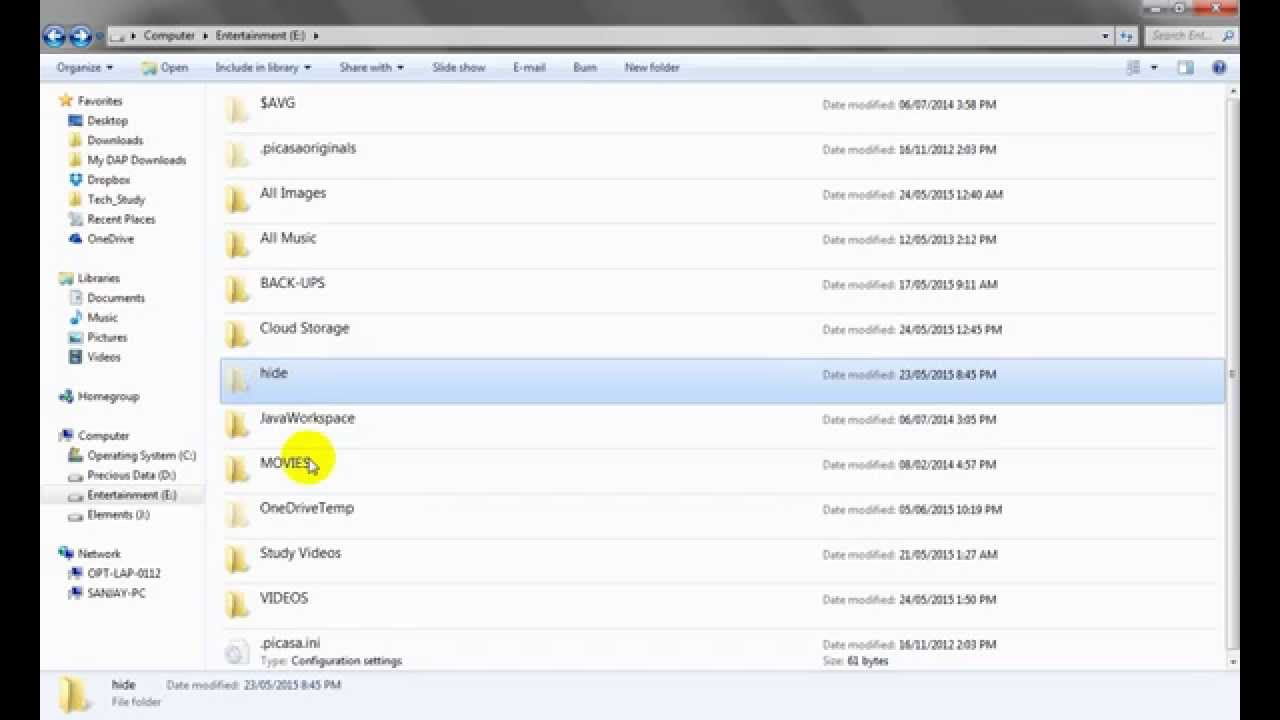 How to hide or unhide folder with denied access permission by