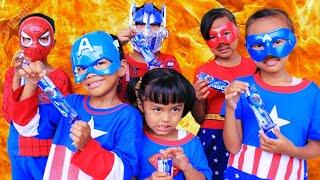 Aksi Rara Superhero Lucu  membuat es krim milo+oreo//Lagu anak anak-mainan anak