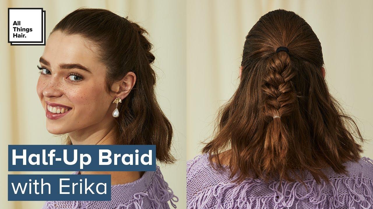 Easy Half Up Braid Tutorial Short Hairstyles Youtube