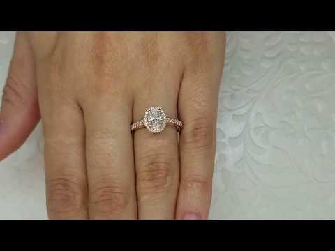 Rose Gold Oval Diamond Halo Engagement Ring - Mikado Diamonds