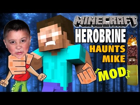 Thumbnail: Herobrine Haunts Mike in Minecraft PC! Herobrine Mod w/ Spawner Totem & Traps Creepyness!