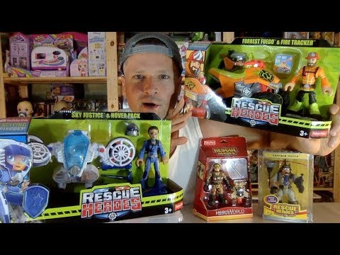 Fisher Price Rescue Heroes Forrest Fuego Fire Tracker & Sky Justice Hover Pack Unboxing Review