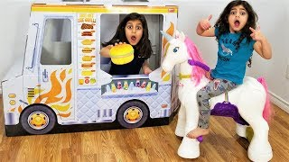 Sally Pretend Play with Ride On Horse Toy for Kids
