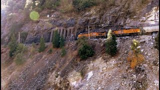 UNION PACIFIC Double header hugs steep mountainsides along Feather river canyon
