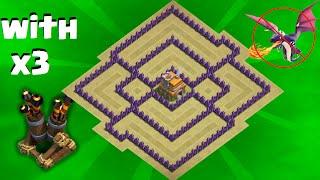 Clash of Clans - Town hall 7 (Th7) War Base + 3 Air Defense  - ANTi Dragon Strategy