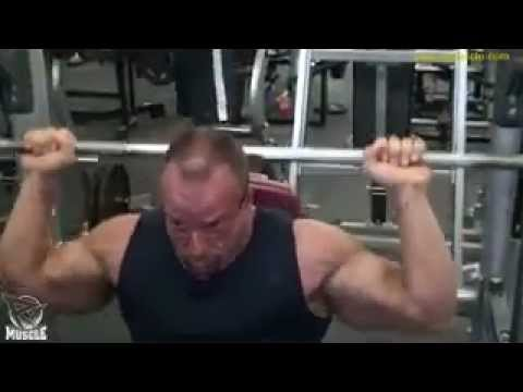 Bodybuilder Dave Watson Working Out His Shoulders