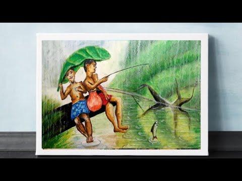 rainy-season-drawing-with-oil-pastel//art&craft-with-pratima