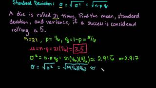 Mean, Variance, and Standard Deviation of a Binomial Distribution