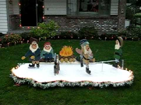 christmas yard display skating elves in motion - Motorized Christmas Decorations