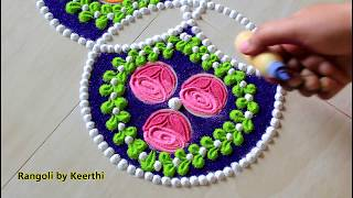 Simple rose rangoli designs with colours l Rangoli for new year l New year rangoli design l kolam