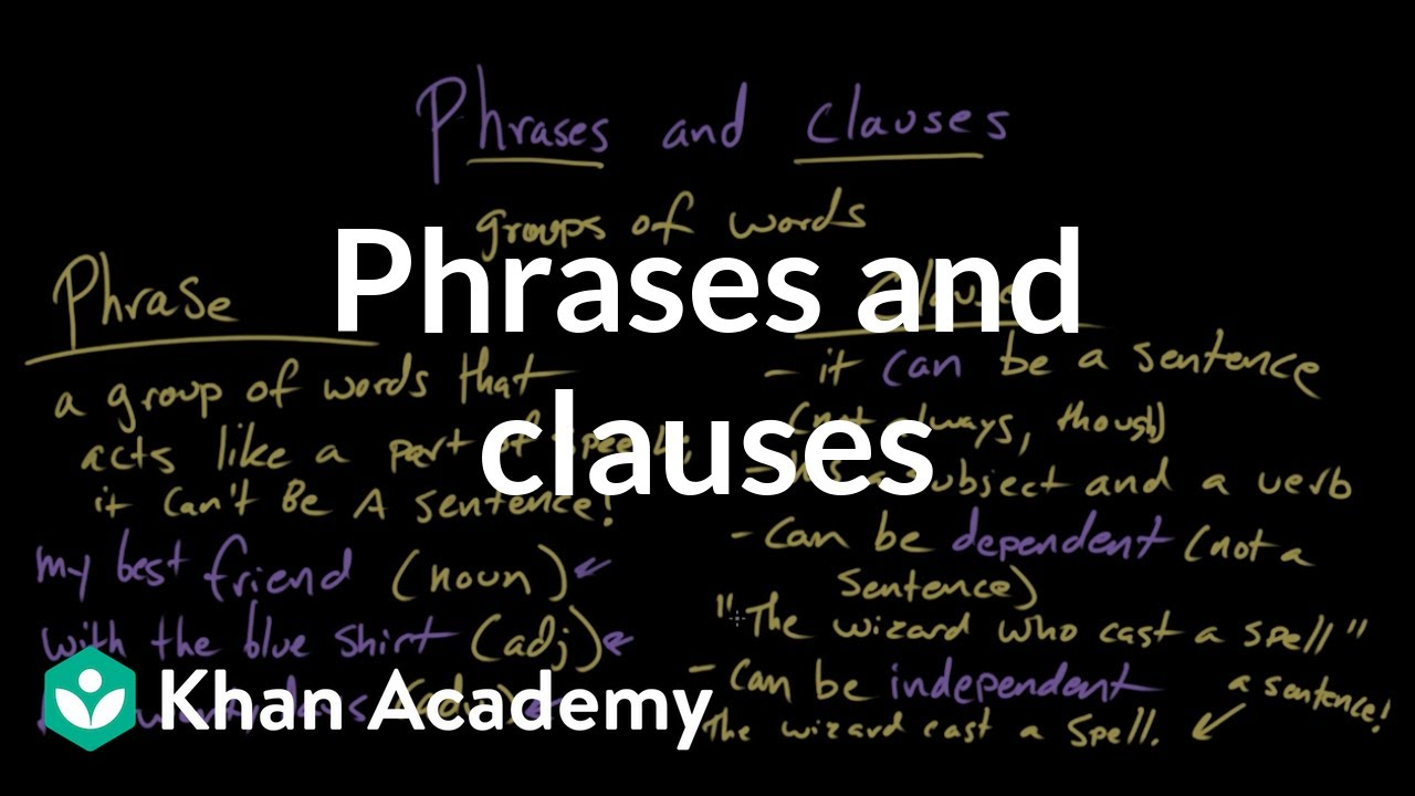 hight resolution of Phrases and clauses (video)   Khan Academy