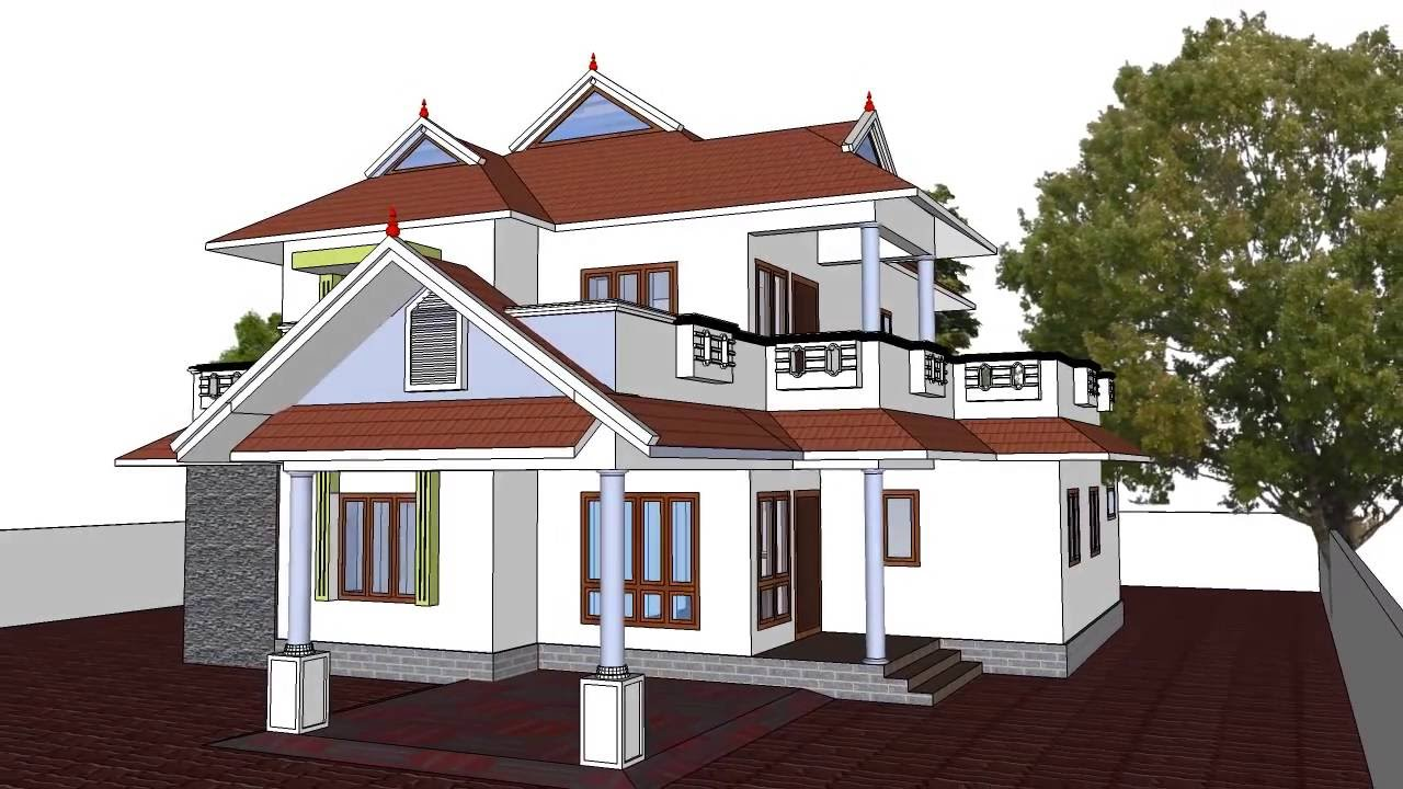 Old pitched roof houses india for Sloped roof house plans in india