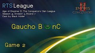 AoC S41, D3, R7 - Gaucho|B vs. nC, Game 2 - Age of Empires II: The Conquerors Clan League Season 41