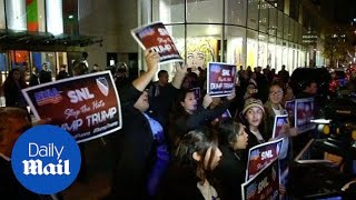 Hispanic-American groups protest against Trump hosting SNL - Daily Mail