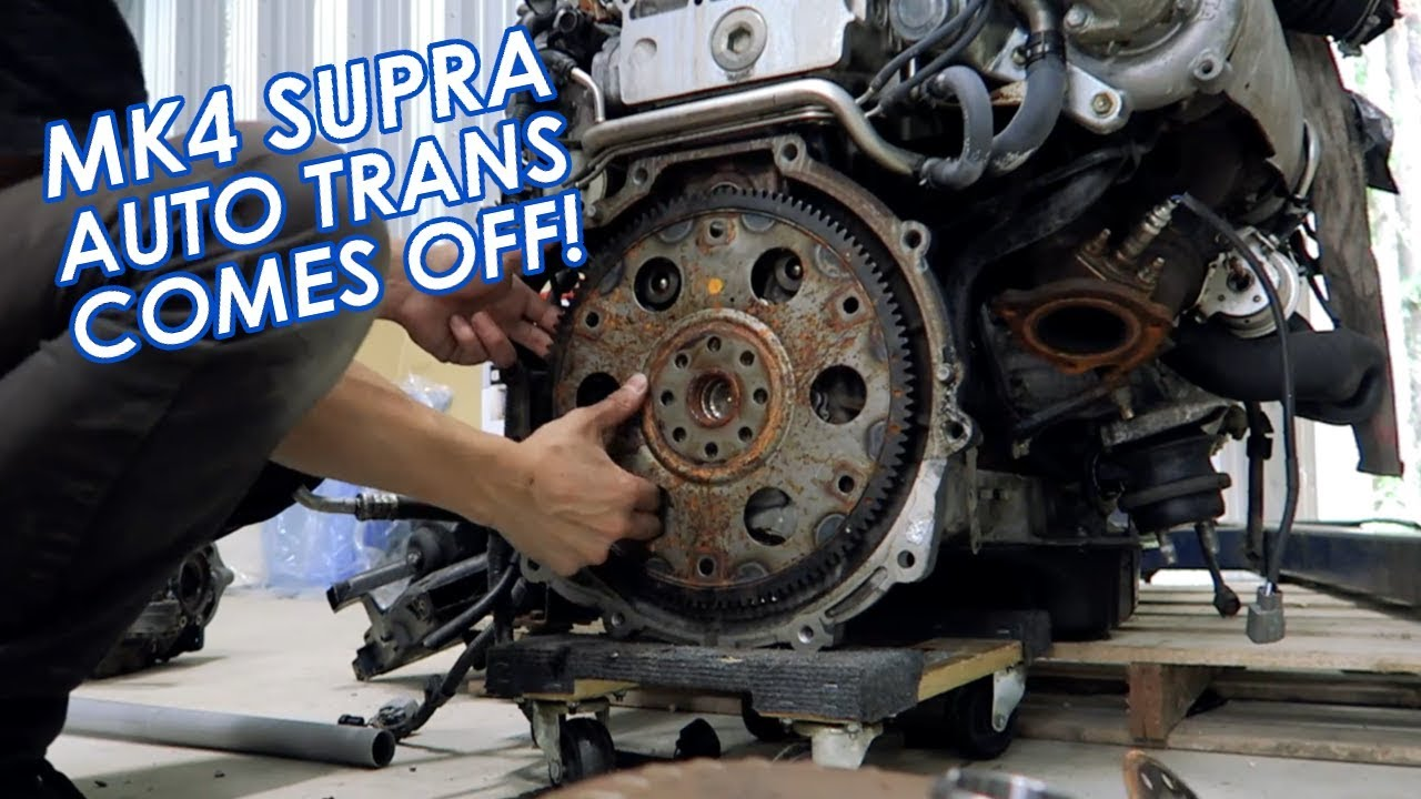 Removing The Automatic Transmission From Our 2JZ-GTE Engine + Mounting It To An Engine Stand