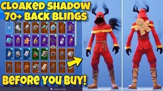 "NEW ""CLOAKED SHADOW"" SKIN Showcased With 70+ BACK BLINGS! Fortnite Battle Royale (BEFORE YOU BUY)"
