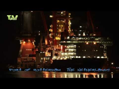 Deepwater Construction Vessel Aegir by night