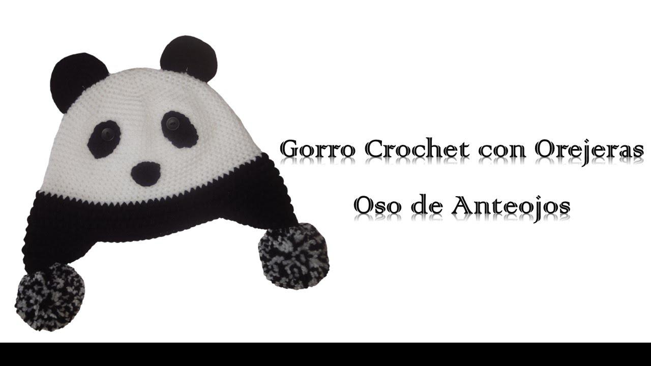 Gorro crochet con orejeras oso de anteojos - YouTube
