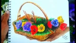 Wicker basket with flowers watercolor - Acuarela de cesta con flores