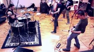 Bulgarian band DOWNFALL performing cover songs at a rehearsal studi...