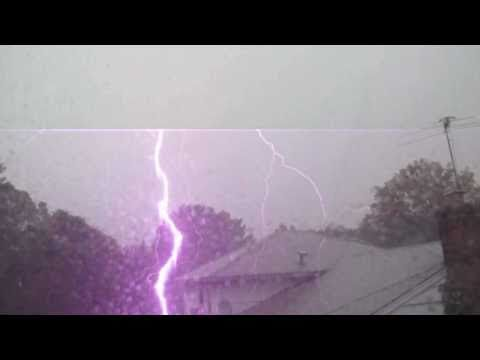Incredible Up Close Lightning Strike! 9/16/10 Tornado in Brooklyn