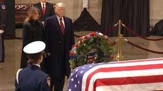 Trump, first lady pay respects to former President George H.W. Bush